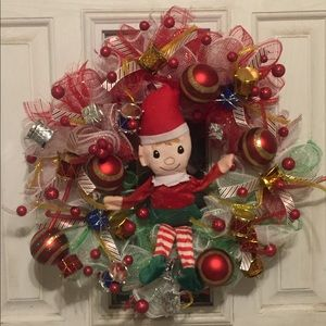14 inch elf Christmas wreath ( handmade)